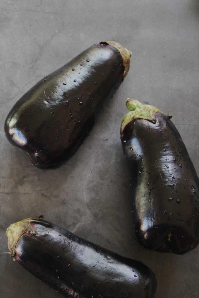 shot of raw eggplants for turkish eggplant casserole