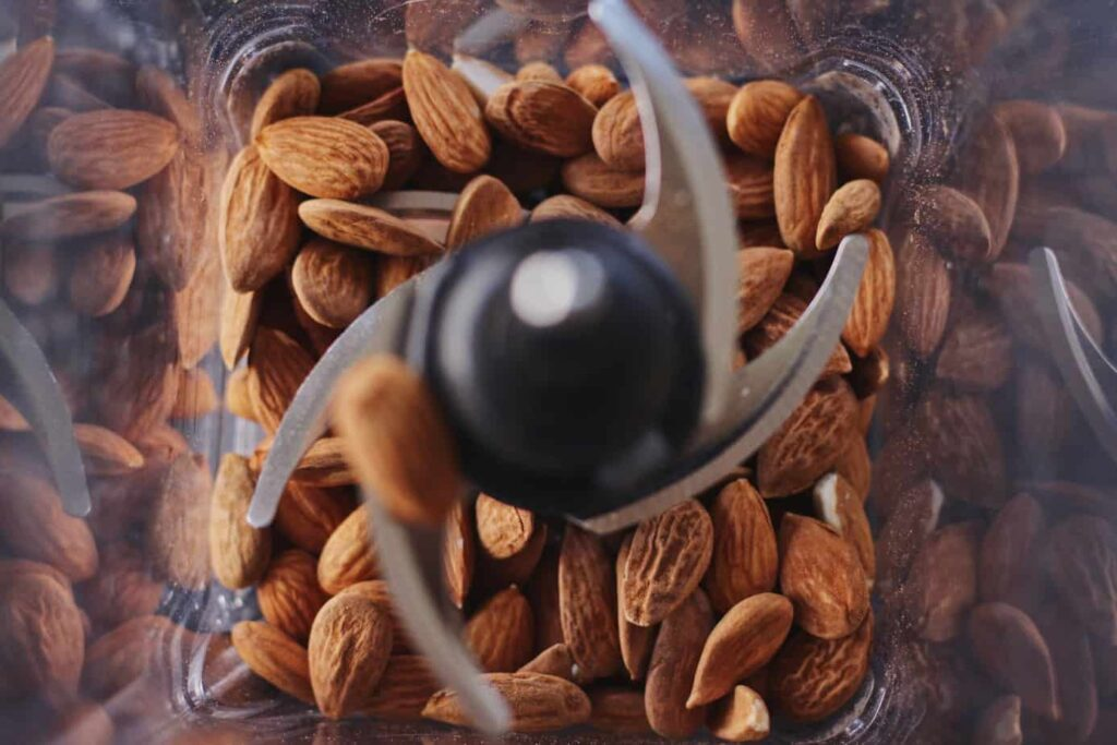 almonds in blender for grain-free pumpkin granola