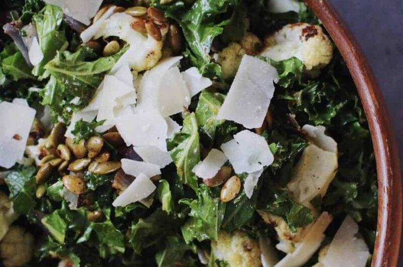 autumn kale salad with pumpkin vinaigrette