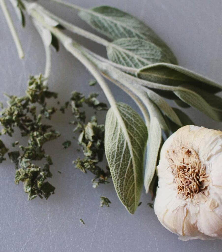 herbs and garlic for savory almond meal bread