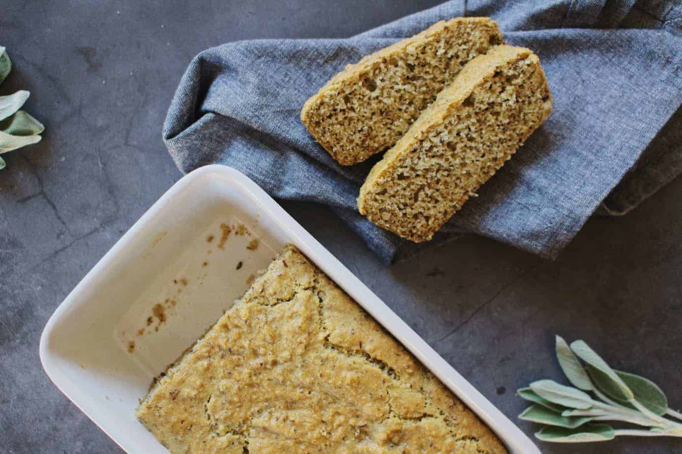 savory almond meal bread servings with whole loaf
