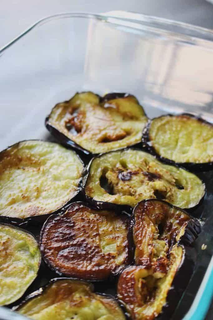 shot of fried eggplant for turkish eggplant casserole