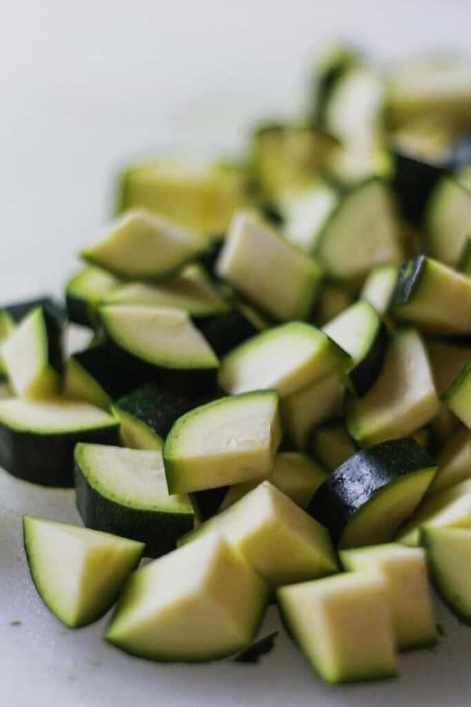 chopped zucchini for keto chili