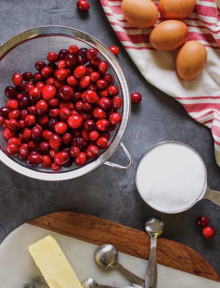 ingredients on a table for keto cranberry curd bars