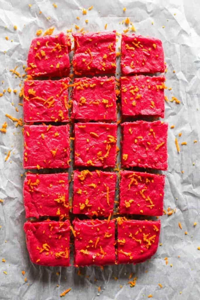 overhead image of keto cranberry curd bars