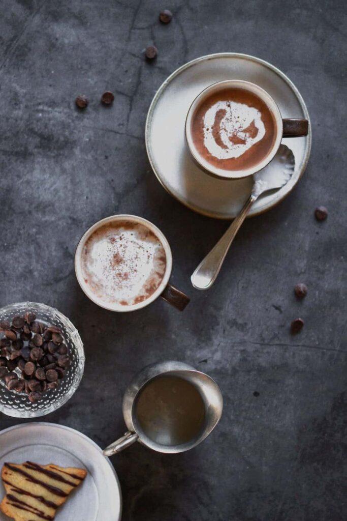 overhead shot of keto hot chocolate with fixings