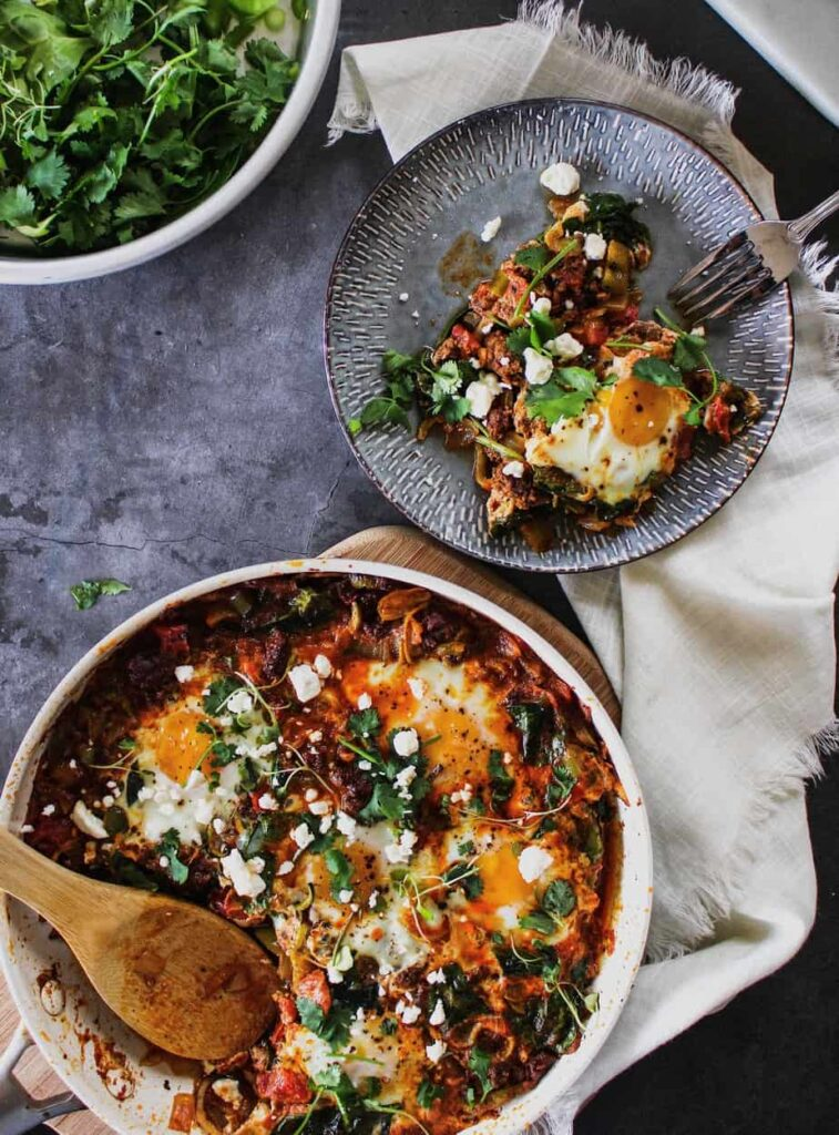 low-carb shakshuka served on a plate