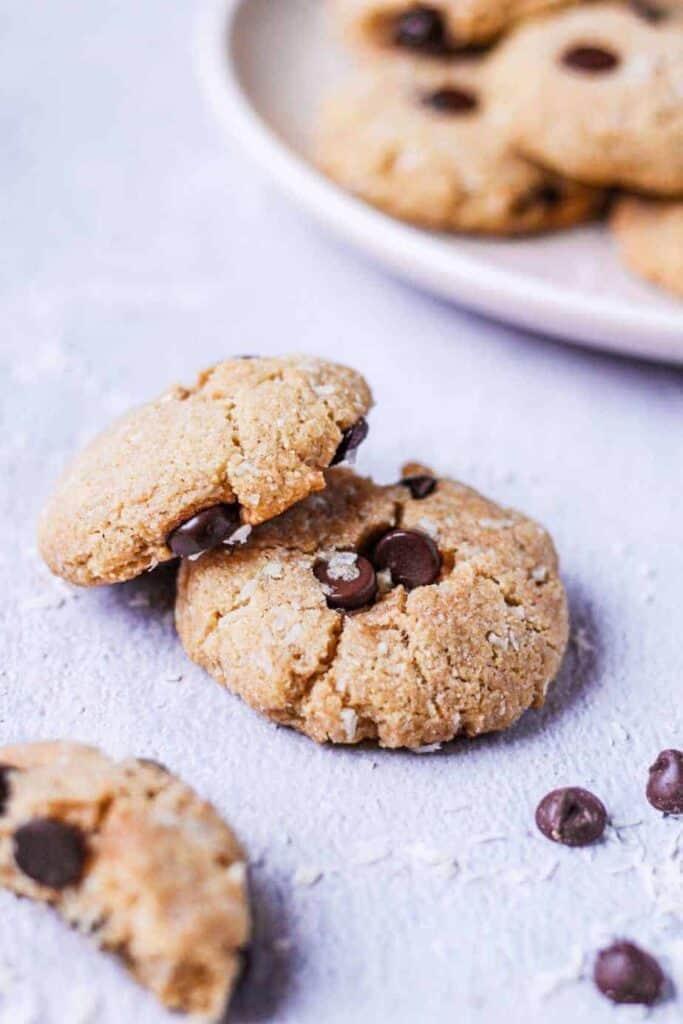 closeup of keto coconut chocolate chip tahini cookies