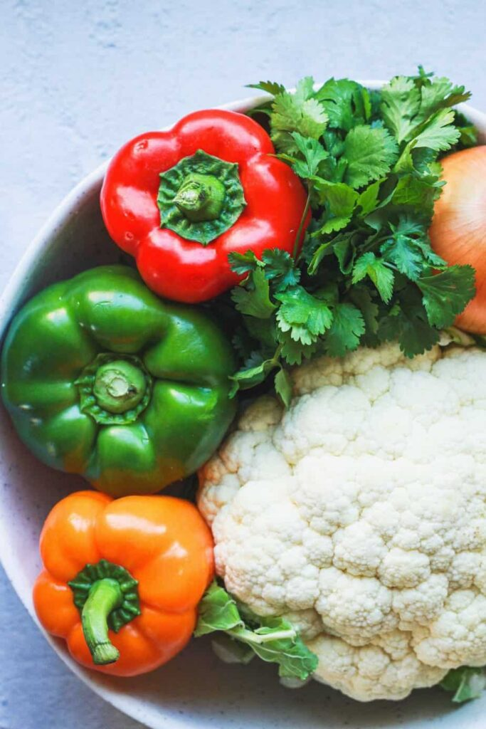 raw vegetables for fajita cauliflower steak