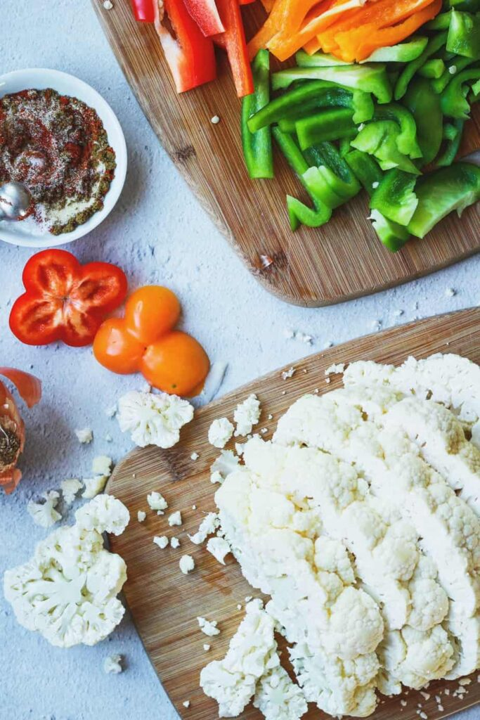 fajita-style cauliflower steak ingredients overhead shot