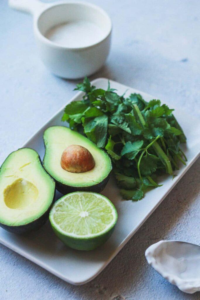 avocado and cilantro on dish for cilantro avocadodressing