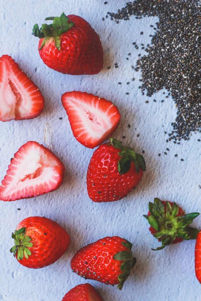 strawberries and chia for an easy sugar-free jam