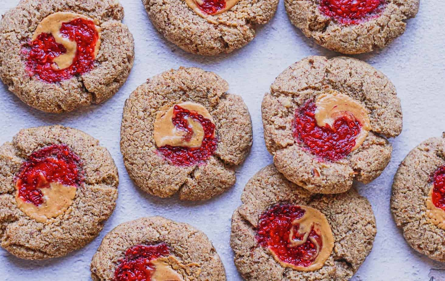 closeup of keto peanut butter and jelly cookies