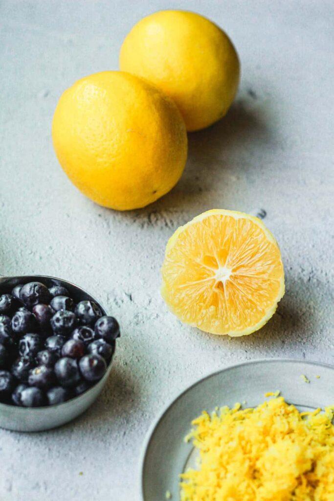 lemons and blueberries for lemon blueberry scones