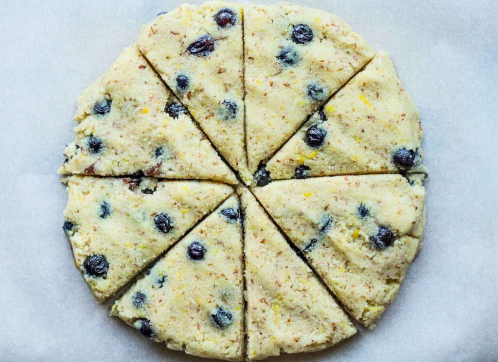lemon blueberry scones cut before baking