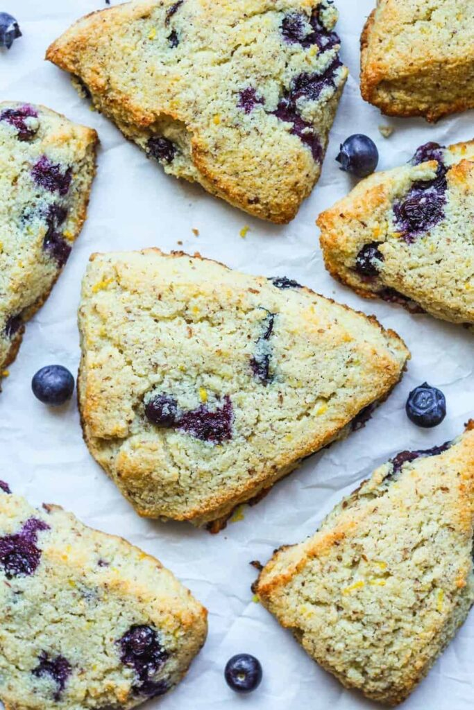 overhead shot of lemon blueberry scones