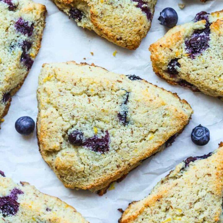 overhead shot of lemon blueberry scones