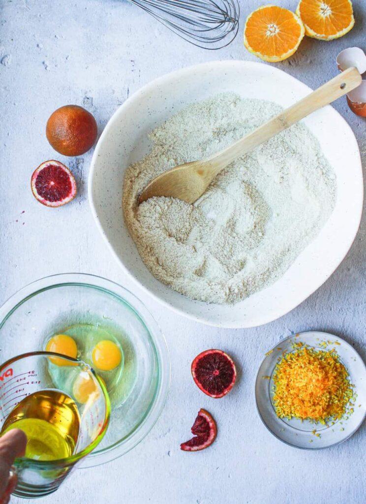 ingredients for blood orange almond cake