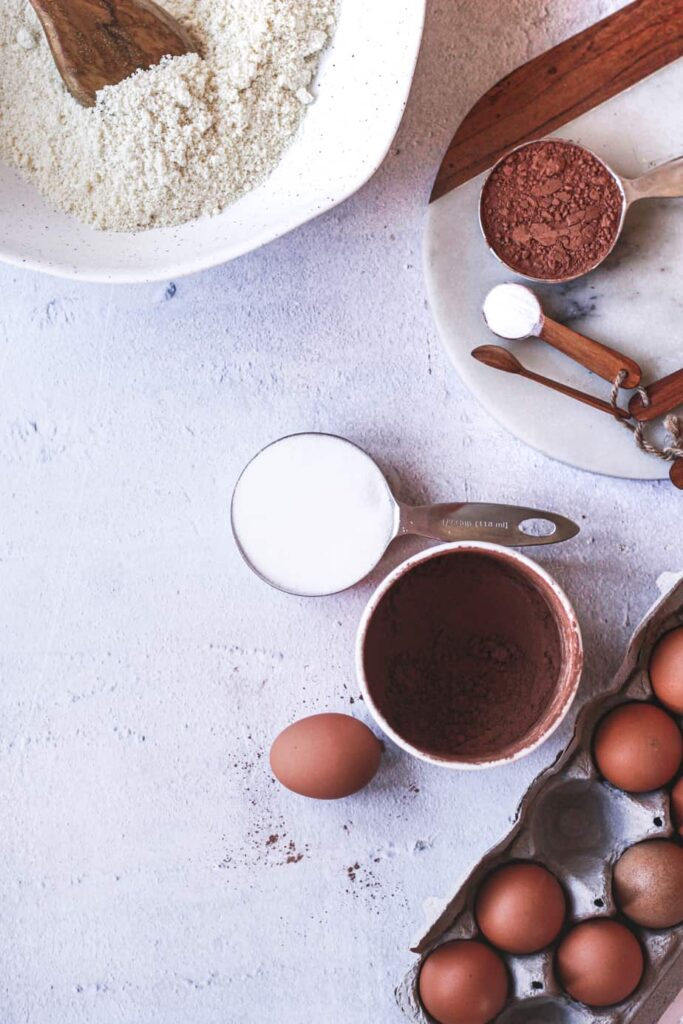 overhead of ingredients for keto chocolate almond pound cake