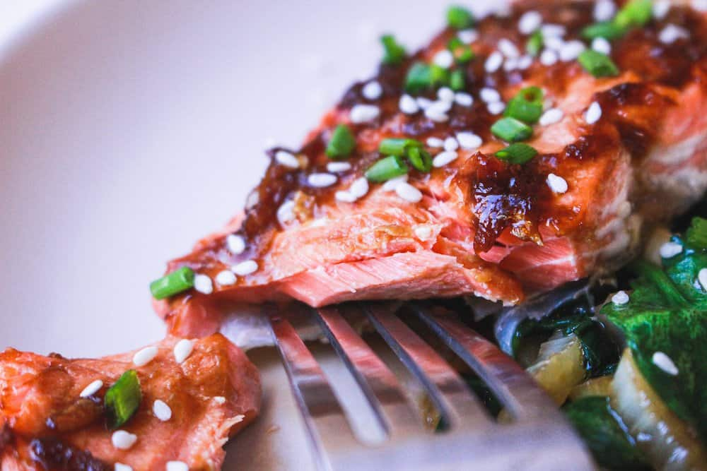 closeup of flaky ginger soy salmon