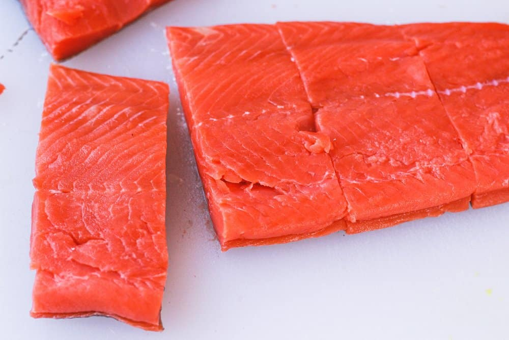 salmon fillet cut into portions