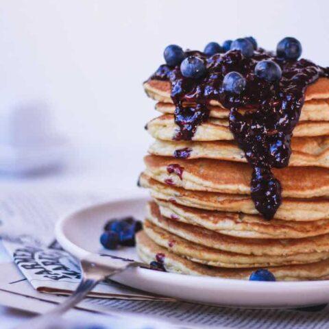 almond flour pancakes with blueberry sauce {keto + dairy-free}