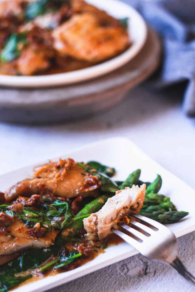 piece of chicken on fork