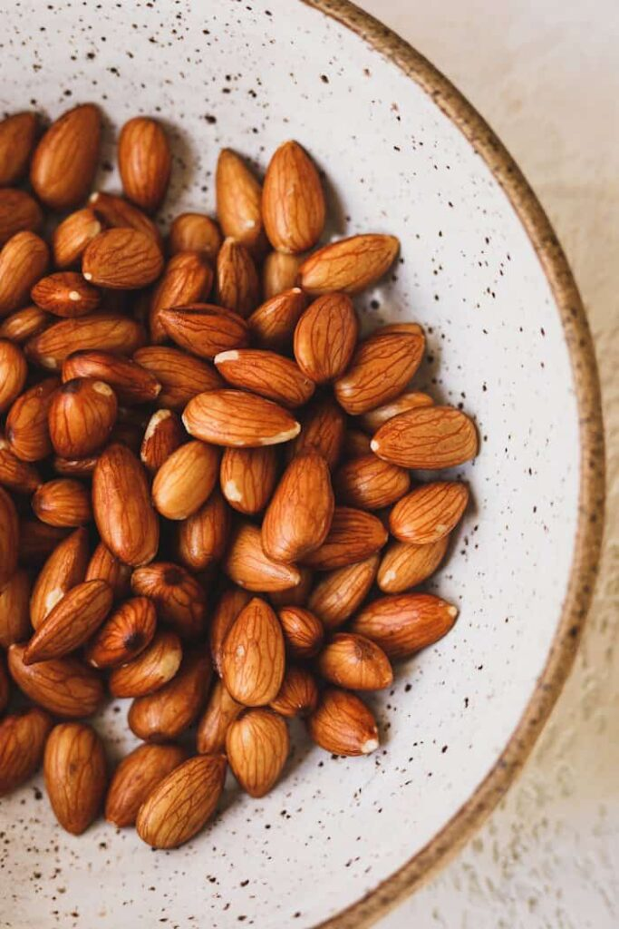 closeup of almonds in a bowl
