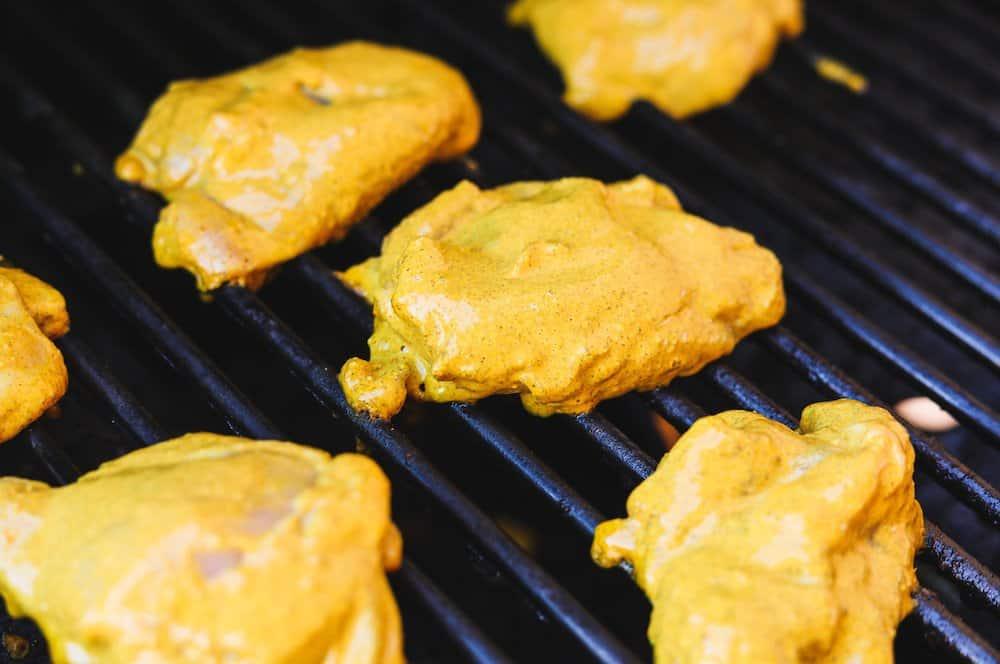 keto chicken shawarma pieces on the grill
