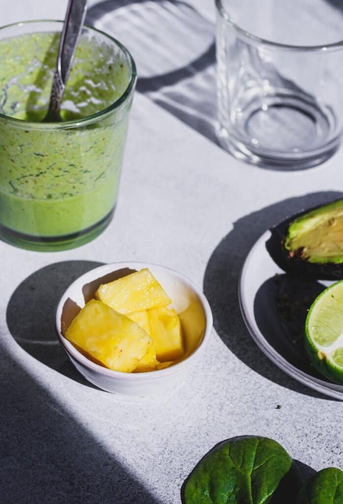 keto tropical smoothie ingredients on a table