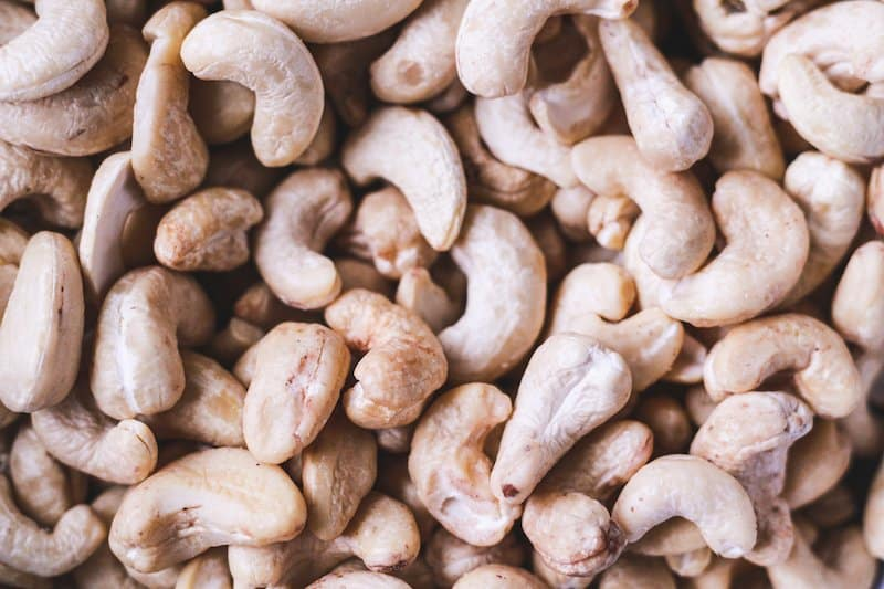 closeup of raw cashews