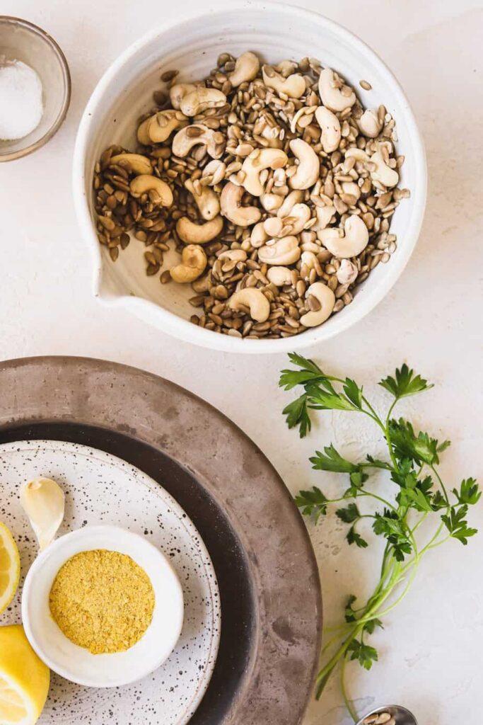 ingredients for sunflower cashew ricotta