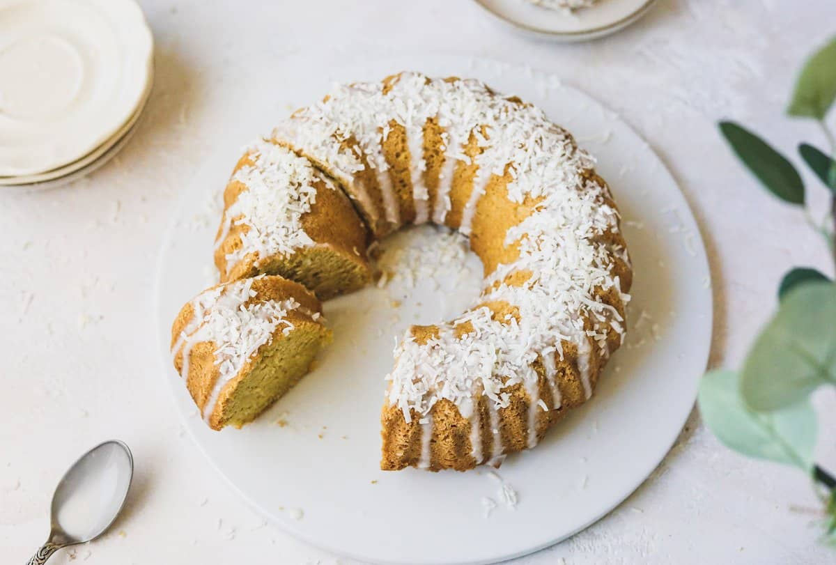 keto coconut cake being served