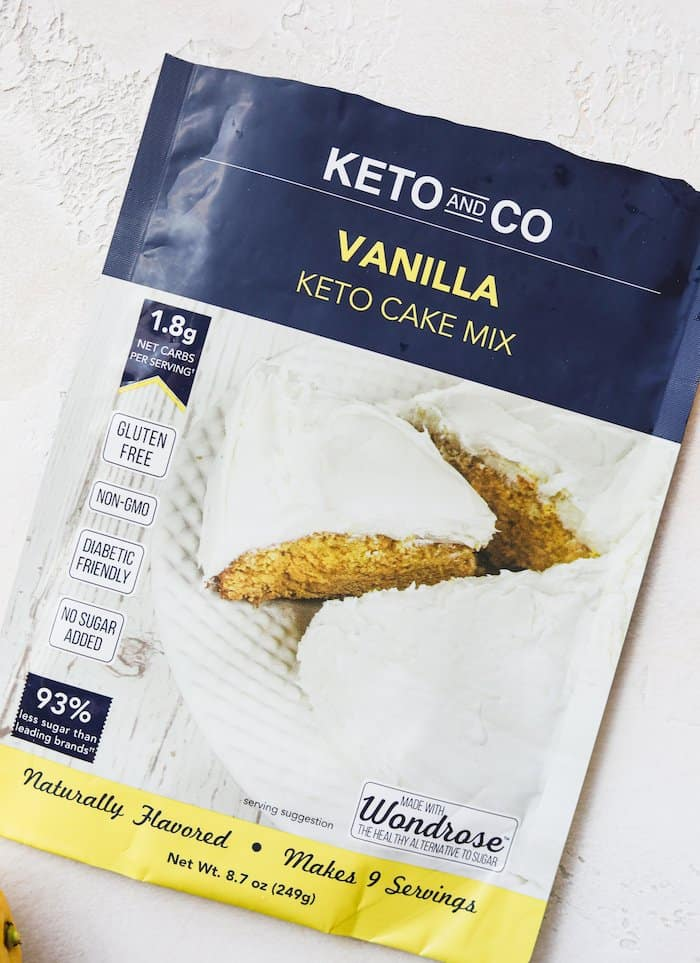 shot of Keto and Co. vanilla keto cake mix
