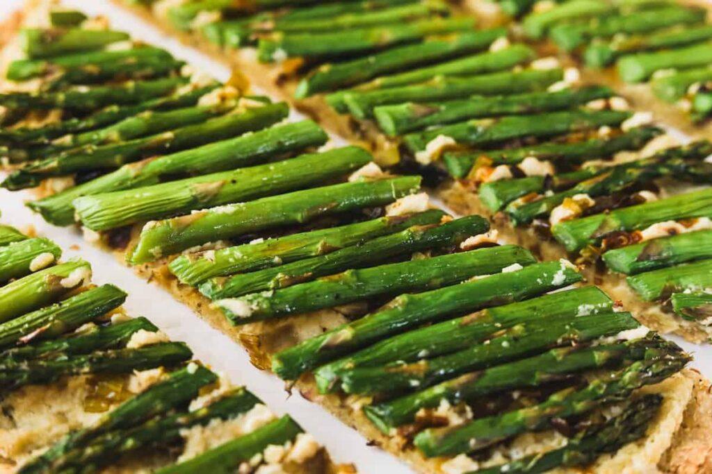 keto ricotta and asparagus flatbread closeups of asparagus
