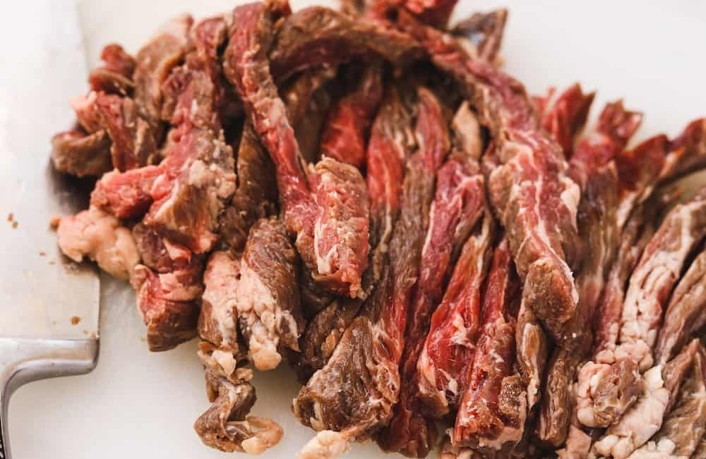 strips of flank steak cut up for low-carb beef bulgogi