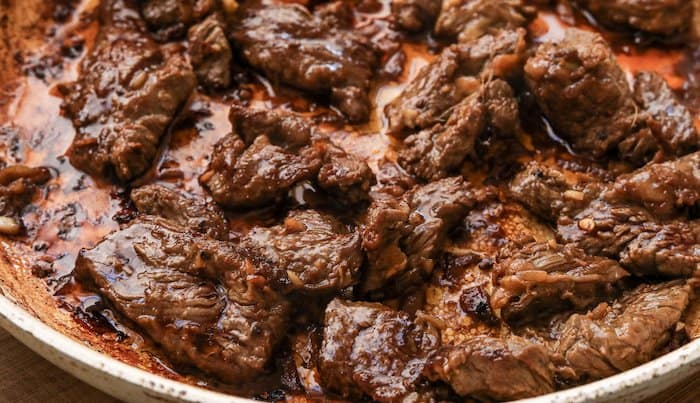 shot of low-carb beef bulgogi cooking in pan