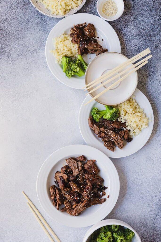 low-carb beef bulgogi dinner spread from overhead
