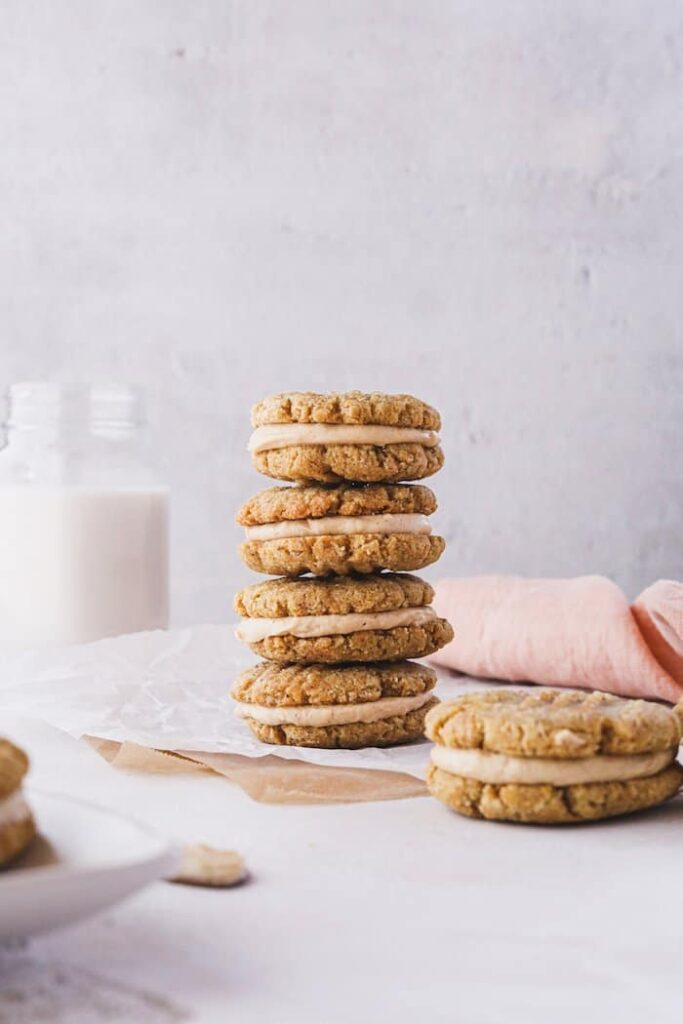 keto peanut butter cookie sandwiches stacked vertically