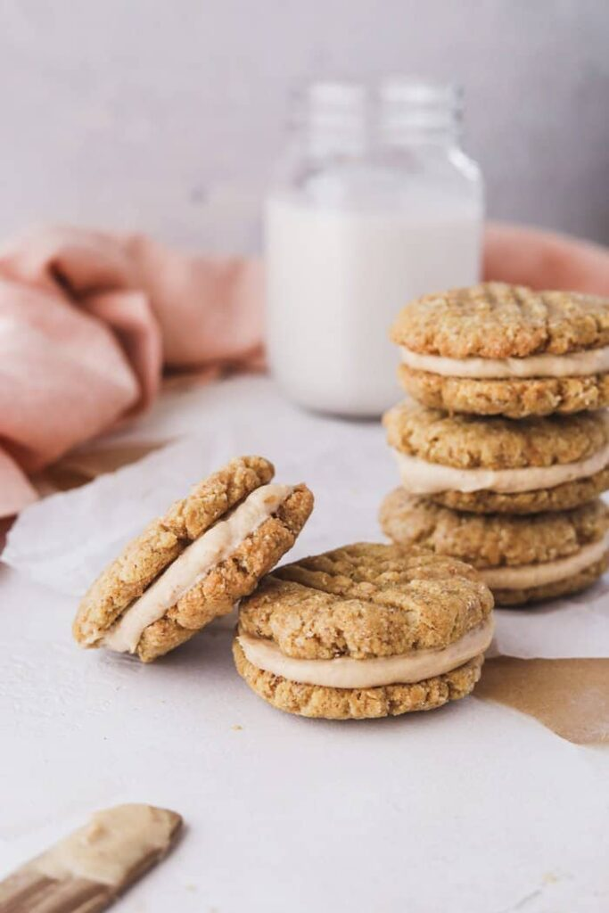 closeup of finished keto peanut butter cookie sandwiches