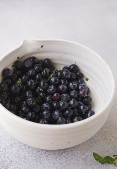blueberry mixture in a white bowl