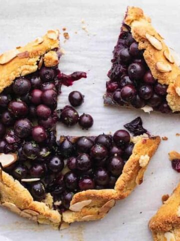 blueberry galettes with almonds and mint