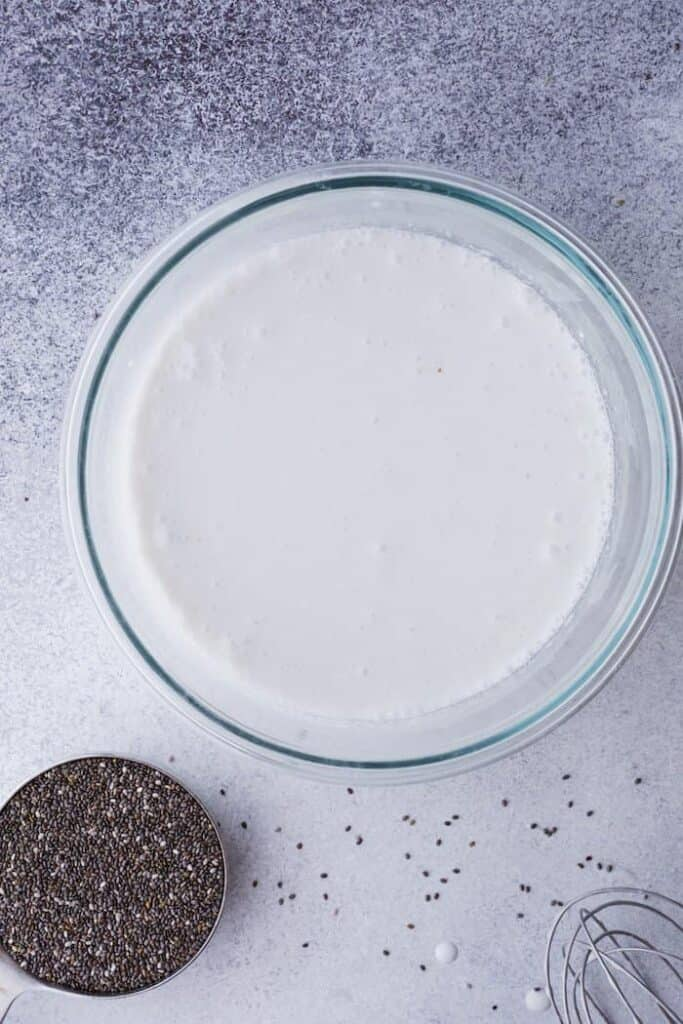 coconut milk and chia seeds