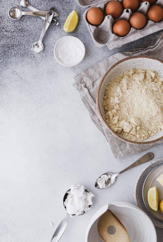 ingredients for keto biscuit recipe arranged in a flatlay