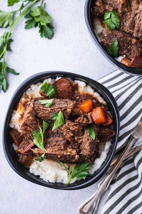 low-carb braised beef with gravy and cauliflower mash, a yummy keto beef recipe