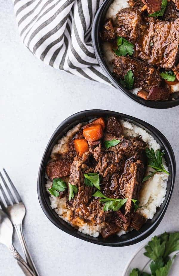 image of two servings of low-carb braised beef with gravy