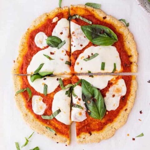 keto margherita pizza slices
