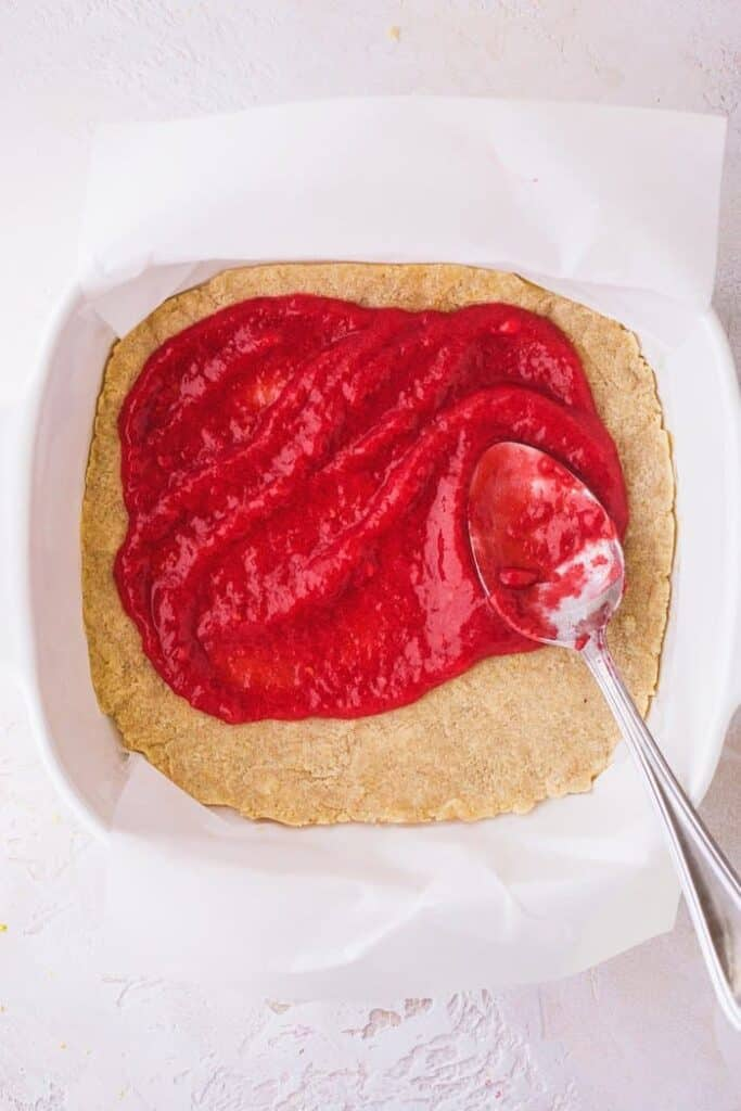 raspberry layer spread on crust