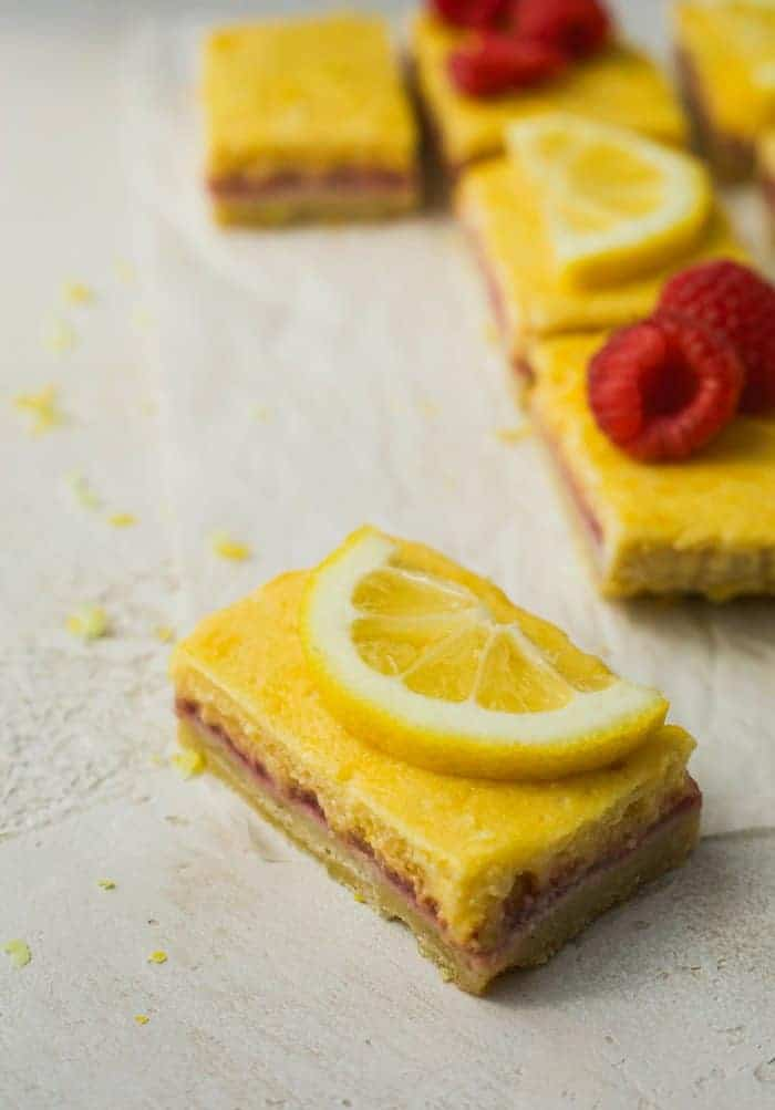 single slice of keto raspberry lemon bars