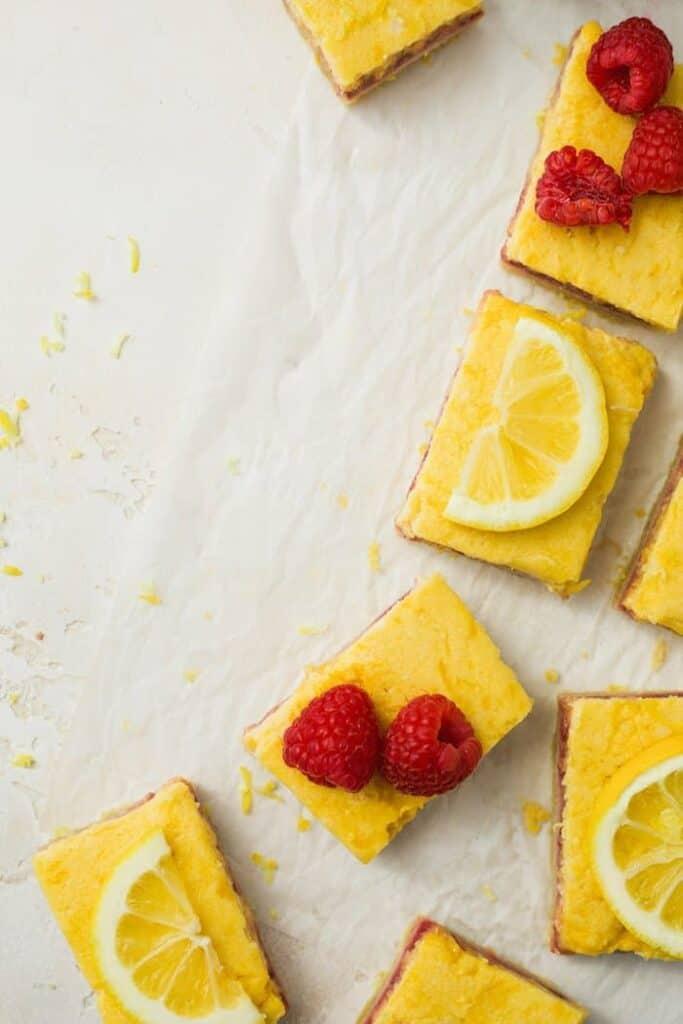 keto raspberry lemon bars sliced, overhead shot